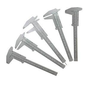 T&B 5個セット ミニキャリパー プラスチックノギス 軽快 快段目盛 ダブルスケール 定規ツール DIY 測定工具(灰色)