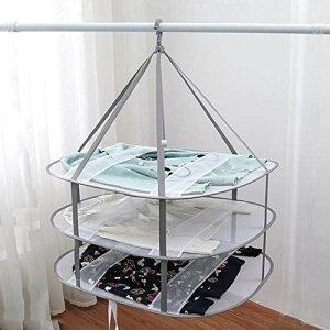 物干しネット 3段 平干しネット 衣類変形防止 ニット干し 平置きネット折りたたみ収納 防風 グレー