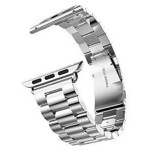 BigFox apple watch用金属バンド バンドコネクタ付き 留め金製のブレスレット ステンレス腕時計バンド シンプル 耐久 シルバー 42mm