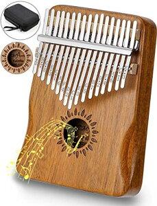 カリンバ 17キー 親指ピアノ Kalimba アフリカ楽器 操作簡単 初心者向け アカシア木製(KOA) ナチュラル C 調 音調調節可能 チューナーハンマー 収納バッグ付き Natural