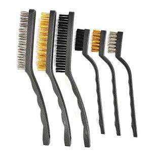 ATPWONZ ワイヤーブラシ 6本組 真鍮ブラシ ナイロンブラシ ステンレスブラシ 金属ブラシ サビ取り・錆落とし・目詰まり 清掃に便利 穴付き
