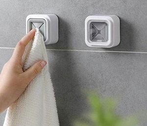 タオルハンガー タオル掛け タオルホルダー タオルクリップ インテリア ステンレス 簡単にタオルを取り外し 粘着 テープ タオルフック おしABS+PVC 表面メッキ/浴室/部屋/台所タオル フック