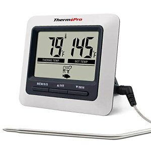 ThermoPro デジタルクッキング 料理用 オーブン温度計 キッチン調理用タイマーとアラーム機能付き LCD大画面 ステンレス製プローブ バーベキュー グリル肉 燻製作りなどの温度管理 マグネット