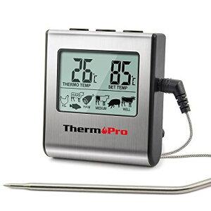 ThermoProクッキング料理用オーブン温度計デジタル 肉 揚げ物 食品 燻製などの温度管理用キッチンタイマーとアラーム機能TP16