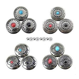 コンチョ ボタン 12個セット シルバー ターコイズ ネジ式 30mm レザークラフト 財布 手芸 バッグ飾り用ボタン ハンドメイド
