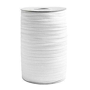 EWA マスクゴム、平ゴム、弾性バンド ゴムコード 、弾性線、6mm幅×100m長さ、ノーズワイヤー100pcs、ポリエステル製、編みタイプ 伸縮可能 、DIY、手つくり素材、手芸用品(ホワイト)