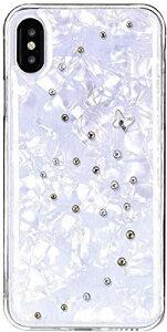 【Bling My Thing】 iPhone Xs/iPhone X 対応 ケース スワロフスキー シーシェル デザイン 薄型 スリム ハイブリッド ハード カバー Papillon White [ Apple iPhoneXs iPhoneX アイフォンXs アイフォンX ] エンジェル