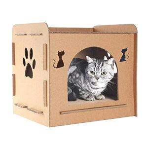 猫ハウス キャットハウス ダンボールハウス 猫箱 猫ハウス 猫ボックス おもちゃ 寝床 組み立て簡単 高密度段ボール 収納簡単 ストレス解消 通気 ペットハウス …