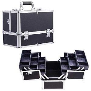 Hapilife メイクボックス 大容量 6つトレイ 幅37cm 大型 コスメボックス ネイル ジュエリー アクセサリー 化粧収納ボックス 鍵付き 大きい 黒 プレゼント (ブラック)