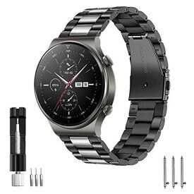 VICARA バンド Compatible with Huawei Watch GT2 Pro/GT/GT2e 46mm/GT2 46mm/Active,Galaxy Watch 46mm/Galaxy Watch3 45mmバンド ステンレス製 22mm 交換用 ベルト 調整工具付き ビジネス風 スチール(ブラック+シルバー)