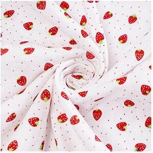 ダブルガーゼ 布地 生地 無地【約150cm×100cm】花柄 かわいい 40番手 wガーゼ 2重ガーゼ 100%コットン 綿 ハンドメイド洗える 不織布 小さいイチゴ いちごちゃん