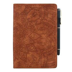 iPad Pro 12.9 ケース 2020 あいぱっどPro 12.9インチ2020アイパッド タブレットスタンド太陽の花柄 手帳型 カードペンapple pencil アップルペンシル収納 ビジネス 女性 男性 TPUレザー革カバー(ブラウ