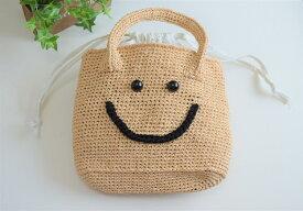 ニコちゃんバッグ(ベージュ)大切な彼女や奥様へのプレゼントにピッタリ/A4サイズOK レディースバッグ 可愛いカゴバッグ ジュートバッグ 内袋付きバッグ