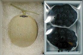 マスクメロン 約1.5kg 白級 静岡産 & 種無し 巨峰ぶどう 約800gセット 化粧箱●ご贈答おすすめ果物です ネットメロン 果物セット きょほうブドウ 葡萄【ラッキーシール対応】