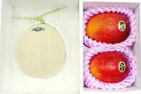 果物セット【送料無料】完熟マンゴー「太陽のたまご」 3Lサイズ2個入り&静岡産マスクメロン 約1.5kg セット化粧箱入りお中元 プレゼント