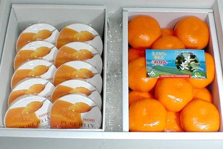 北海道 ホリ 夕張メロン ピュアゼリー 10個 & ハウスミカン Sサイズ 1kg セット 化粧箱○ご贈答おすすめ果物です夏のフルーツギフトセット ギフトボックス P01Jul16