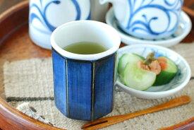 【砥部焼 梅山窯】藍色の八角湯呑(小)