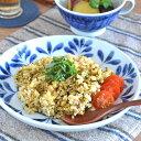 【砥部焼 陶房遊】ブルーリーフの丸皿(7寸)