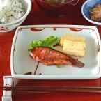 【砥部焼梅山窯】赤太陽の角皿(6寸)