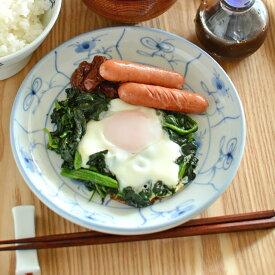 【砥部焼 梅山窯】なずなの切立丸皿(6寸)