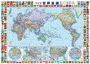 世界地図(世界全図)ポスター(B1判)【2019年最新版】表面ビニールコーティング加工※水性ペンで書き消しができます!