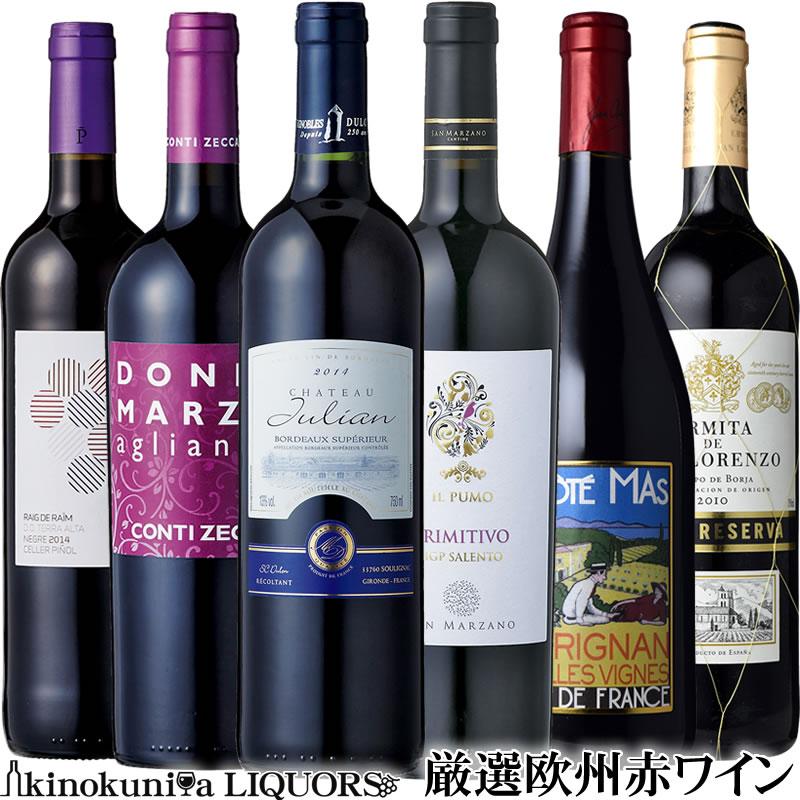 厳選ヨーロッパ赤ワイン6本セット フランス イタリア スペインワインの赤ワインセット【送料無料S】【飲み比べS】【赤S】【セレクトS】【楽ギフ_のし宛書】【福箱 福袋】【あす楽】ミディアム〜赤 フルボディ