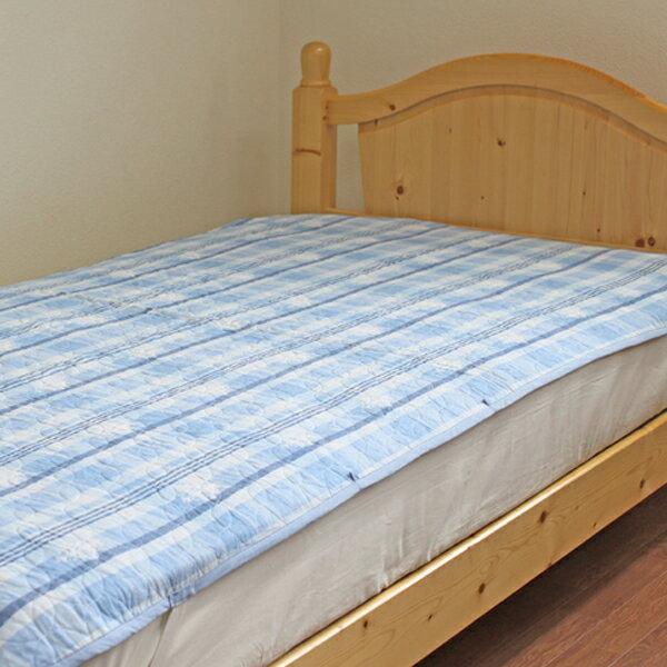 【訳あり】水洗いキルト敷きパッド シングルサイズ(100×205cm) チェックブルー/ピンク ナチュラルアウトレットOutlet