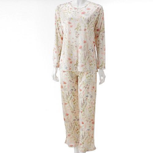 ポーチ付き 携帯パジャマ「ボタニカル柄(アイボリー)」 【エトワール海渡】