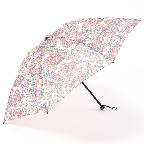 【日本製】オーガンジー晴雨兼用折傘「リバペイズリー(ベージュ)」