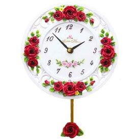 【ママ割エントリーでポイント6倍】振子時計 「ローズレリーフ(レッド)」