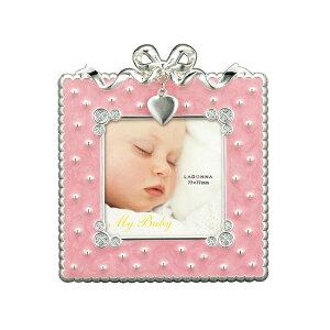 ベビーフレーム MB31-S2 | 写真立て フォトフレーム 写真たて 写真入れ ベビー リボン ハート モチーフ 月 チャーム かわいい シンプル ミニサイズ ピンク 赤ちゃん 出産祝い お祝い 誕生日 お