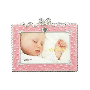 ベビーフレーム MB31-P 写真立て フォトフレーム 写真たて 写真入れ ベビー リボン ハート モチーフ 月 チャーム かわいい シンプル ポストカード ピンク 赤ちゃん 出産祝い お祝い 誕生日 お