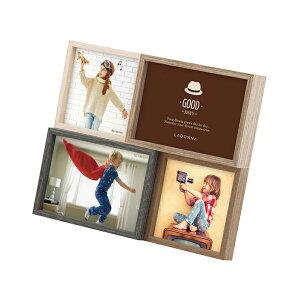 ウッドフレーム DF82-40 | 写真立て フォトフレーム 写真たて 写真入れ インテリア リビング デザインフレーム 木目調 レトロ かわいい 置き掛け兼用 女性 贈り物 L判 スクエアサイズ 贈答品 誕
