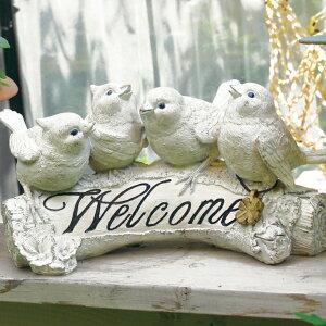 バードガーデンオーナメント | 玄関 置物 ガーデニング 庭 ガーデンマスコット オーナメント 雑貨 鳥 かわいい 小鳥 シンプル オブジェ おしゃれ インテリア WELCOME ウェルカム とり アニマル