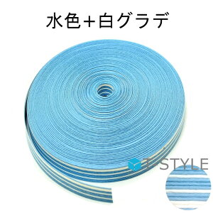 紺屋商事 紙バンド(クラフトバンド) 水色+白グラデ 50m