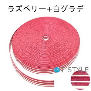 紺屋商事 紙バンド(クラフトバンド) 50/ラズベリー+白グラデ 50m