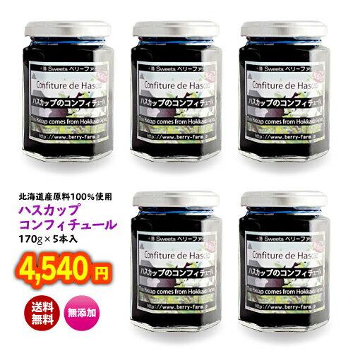 北海道 土産 送料無料 果物 ジャム フルーツ ハスカップ 無添加 「ハスカップジャム170g×5本入り」(こちらはギフト対応しておりません)
