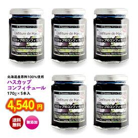 北海道 土産 送料無料 果物 ジャム フルーツ ハスカップ 無添加 「ハスカップジャム170g×5本入り」(ギフト対応不可品) ラッキーシール 対応