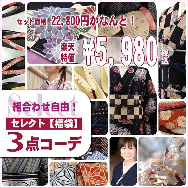 きもの【福袋】選べるおしゃれ着物セレクト3点コーデ