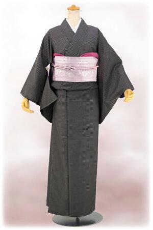 【江戸小紋】洗える着物仕立上り小紋袷「鹿子絞り」黒Mサイズ