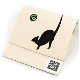 "Obi / light dress zone hand dyeing ""black cat"" made ivory"