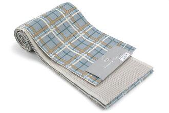 Cotton dressing thin belt check light blue