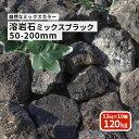 【送料無料】溶岩石 ミックスブラック50-200mm 120kg (12kg以上×10箱)