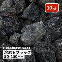 【送料無料】溶岩石 ブラック 50-150mm 10kg以上   庭石 庭 ロックガーデン ガーデニング 石 レイアウト 花壇 黒 岩 …