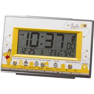【お取寄せ品】リズム時計製電波目覚まし時計 くまのプーさん 8RZ133MC08