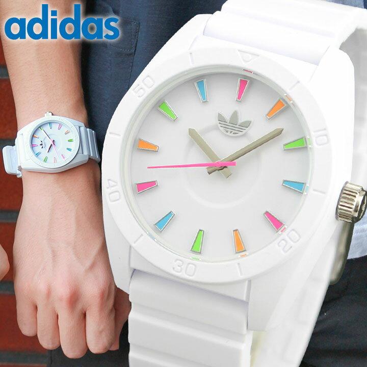 アディダス adidas originals ADH2915 人気シリーズ サンティアゴ SANTIAGO ユニセックス メンズ レディース 白 ホワイト 腕時計 時計 ペアウォッチ ウォッチ マルチカラー レインボー 海外直輸入品