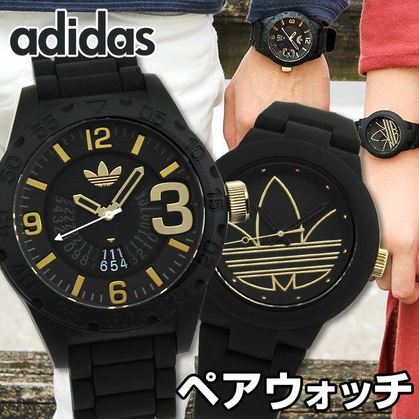 【送料無料】 adidas アディダス ペアウォッチ 海外モデル メンズ レディース 腕時計 ラバー バンド クオーツ アナログ 黒 ブラック 金 ゴールド カップル 結婚祝い 夫婦 おそろい
