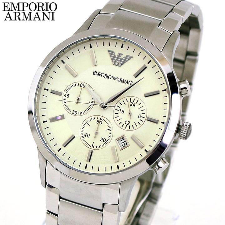 【送料無料】 EMPORIO ARMANI エンポリオアルマーニ Sportivo スポルティボ メンズ 腕時計 メタル クロノグラフ クオーツ アナログ 銀 シルバー アイボリー 誕生日プレゼント 男性 ギフト AR2458 海外モデル