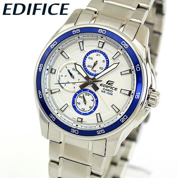 【送料無料】 CASIO カシオ EDIFICE エディフィス EF-334D-7AV メンズ 腕時計 メタル カレンダー クオーツ アナログ 白 ホワイト 青 ブルー 銀 シルバー 海外モデル