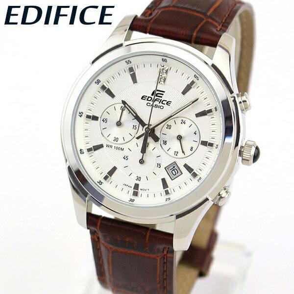【送料無料】 CASIO カシオ EDIFICE エディフィス EFR-517L-7AV メンズ 腕時計 革ベルト レザー クロノグラフ カレンダー クオーツ アナログ 白 ホワイト 茶 ブラウン 銀 シルバー 海外モデル